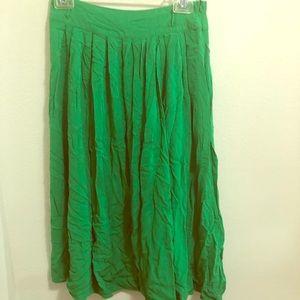 Bright green midi skirt
